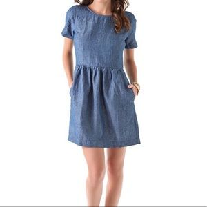 Madewell Chambray Dress Short Sleeves & Pockets 0